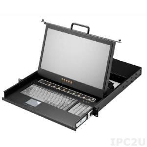 """AMK508-17HB 1U консоль для 19"""" стойки 17.3"""" TFT LCD монитор, 1600x900, клавиатура, комплект 8 кабелей 1.8м HDMI/USB KVM, 8 портов HDMI KVM, Touchpad, одиночные направляющие, стальной корпус"""