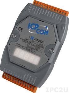 I-7088D Модуль ввода - вывода, 8 каналов высокоскоростного счетчика/частотомера / 8 каналов ШИМ, ТТЛ, LED-индикация