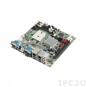 AIMB-224G2-00A1E Процессорная плата Mini-ITX, AMD Mobile eTrinity Quad Core/Dual Core, до 16Гб DDR3 SO-DIMM, VGA, 2xDP, 2xGbe LAN, 3xSATA, 6xCOM, 10xUSB, слоты расширения 2xMini-PCIe, 1xPCIe x8