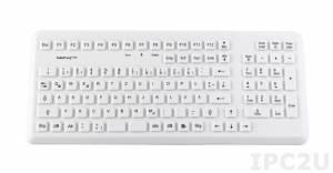TKG-105-MED-IP68-GREY-PS/2 Настольная силиконовая IP68 клавиатура с антибактериальным покрыттием, 105 клавиш, PS/2, серая
