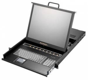 """AMK516-17WPB 1U консоль для 19"""" стойки 17.3"""" TFT LCD монитор, 1920x1080, клавиатура, VGA, 16x 1.8м кабель PS/2 K/B KVM, 16 портов Combo KVM, Touchpad, одиночные направляющие, стальной корпус"""