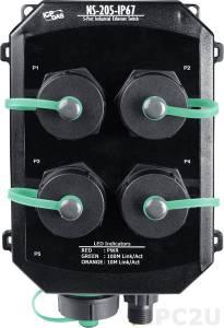 NS-205PSE-IP67 Промышленный 5-портовый неуправляемый коммутатор: 5 портов 10/100 Base-T Ethernet, 4xPoE, IP67