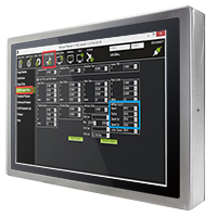 """W22L100-SPA369 Промышленный стальной 21.5"""" LCD монитор с IP69 по всему корпусу, 1920x1080, передняя панель из нержавеющей стали, VGA, проекционно-емкостный сенс. экран (USB), с блоком питания 12В DC 100-240В AC, вход питания 12В DC (M12)"""
