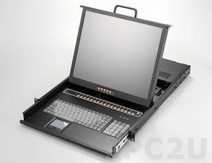 """AMK816-17PB 1U консоль для 19"""" стойки 17"""" TFT LCD монитор, клавиатура, комплект 16 х 1.8м кабель PS2 VGA/KB/Mouse, 16 портов PS2 KVM, Touchpad, одиночные направляющие, стальной корпус"""