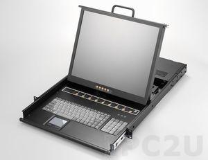 """AMK808-17CBD 1U консоль для 19"""" стойки 17"""" TFT LCD монитор, клавиатура, комплект 8 х 1.8м кабель Combo VGA/KB/Mouse, 8 портов Combo KVM, Touchpad, одиночные направляющие, стальной корпус, 24-48 VDC"""
