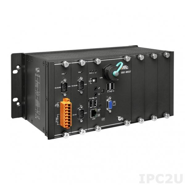 XP-9381-WES7 PC-совместимый промышленный контроллер Intel Atom E3845 1.91ГГц, 4Гб DDR3 SDRAM, 32Гб Flash, 1xRS-232, 1xRS-485, 2xRS-232/485, VGA, 2xEthernet, 3 слота расширения, Windows Embedded Standard 7