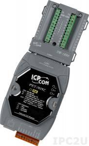 PET-7019Z/S Модуль ввода-вывода, 10 каналов аналогового ввода или сигнала с термопары: J. K. T. E. R. S.B. N. C. L. M, L(DIN)43710 / 4 канала дискретного вывода, PoE, плата DB-1820