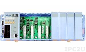 I-8830 Программируемая корзина расширения для модулей I-87K/I-8K, 40МГц, 512кб Flash, 256кб SRAM, 1xRS232, 1xRS232/485, Ethernet 10BaseT, 7-сегментный индикатор, Mini OS7, 8 слотов расширения, протокол DCON