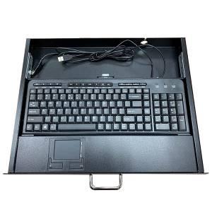 """AX7042T-1U Выдвижная промышленная клавиатура для монтажа 19"""", 1U, 119 клавиш, тачпад, USB, черная"""