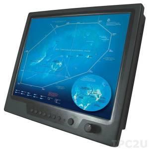 """NPD1236-ETAW-G011 12"""" TFT LCD LED монитор для морского применения, 1000 нит, 1024x768, резистивный сенсорный экран (USB), VGA, DVI, 3xCompositex, питание 9-36В DC, с адаптером"""
