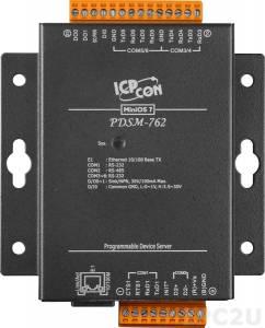PDSM-762 Программируемый Ethernet сервер последовательных интерфейсов с 5 портами RS-232, 1 портом RS-485, 1 каналом дискретного ввода и 2 каналами дискретного вывода, металлический корпус