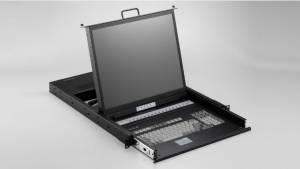 """SMK-990-17UB 1U консоль для 19"""" стойки 17"""" TFT LCD монитор, Combo, клавиатура, 16x 1.8м кабель VGA/KB/Mouse, 16 портов KVM, Touchpad, черный металлический корпус"""