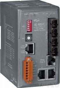 RS-405AFC-T Промышленный 5-портовый неуправляемый коммутатор с функцией резервирования: 3 порта 10/100 Base-T, 2 порта 100 Base-FX (многомодовое волокно, разъем SC), +12...+48 В DC без изоляции, -40...+75C