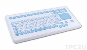TKS-088c-TOUCH-AM-KGEH-PS/2 Медицинская IP65 настольная компактная клавиатура с антибактериальным покрытием, 88 клавиш, тачпад, PS/2