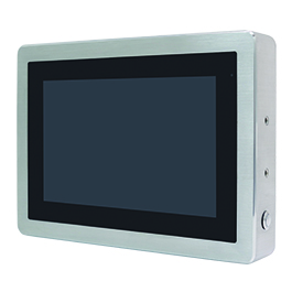 """ViTAM-110G Защищенный TFT LCD монитор, 10,1"""", защита IP66/IP69K, VGA/HDMI коннекторы M12, яркость 350нит, без сенсора, защитное стекло, питание 9-36В DC, 0-50C, адаптер питания."""