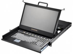 """AMK508-17WDB 1U консоль для 19"""" стойки 17.3"""" TFT LCD монитор, 1920x1080, клавиатура, комплект 8 кабелей 1.8м DVI/USB KVM, 8 портов DVI KVM, Touchpad, одиночные направляющие, стальной корпус"""