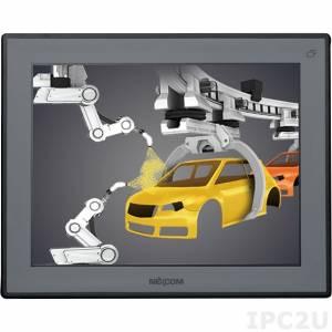 "APPD-1500T-C 15"" 4:3 LCD LED монитор, 400 нит, 1xVGA, 1xDVI-D, входное питание 12-24 В постоянного тока, 5-проводной резистивный сенсорный экран (1xRS232, 1xUSB), IP65 на передней панели, DC-in"