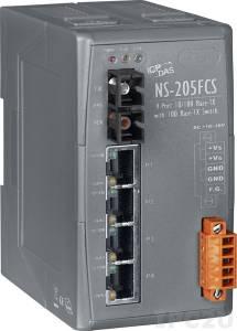 NS-205FCS Промышленный 5-портовый неуправляемый коммутатор: 4 х 10/100 BaseT(X), 1 х 100BaseFX (одномодовое волокно, разъем SC, до 15 км), пластиковый корпус, 0...+70С